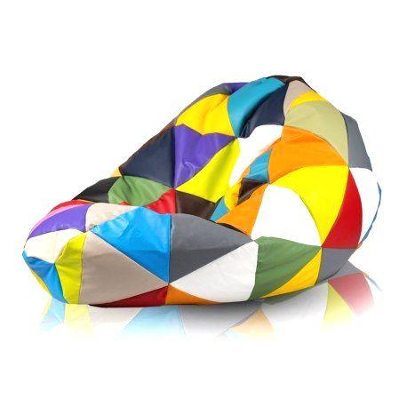 Ecopuf Sedací vak ECOPUF - SAKO farebný trojuholníky Polyestér