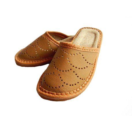 967 Chlapčenské kožené papuče svetlo hnedé 34