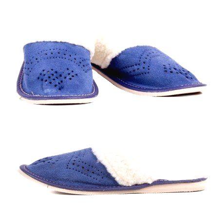 D0013 Dámske kožené papuče - Modrá 41