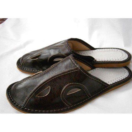 85 Pánske kožené papuče - tmavohnedá 46