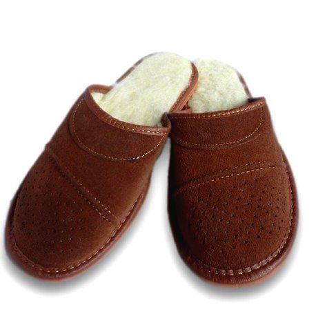 83 Pánske papuče z brúsenej kože - hnedá 46