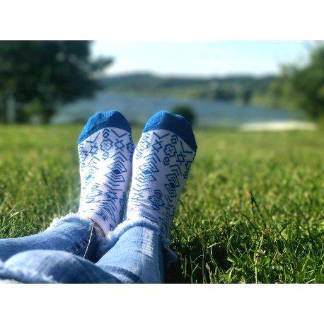 HESTY Veselé ponožky HESTY - Čičmany členkové modré 43-46