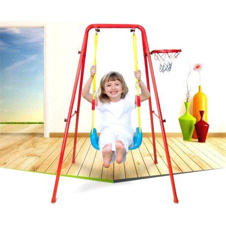 7936 DR Kovová záhradná hojdačka s basketbalovým košom červená