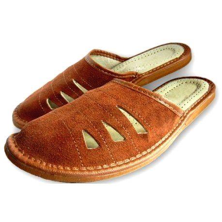 92 Pánske kožené papuče - Hnedá 46