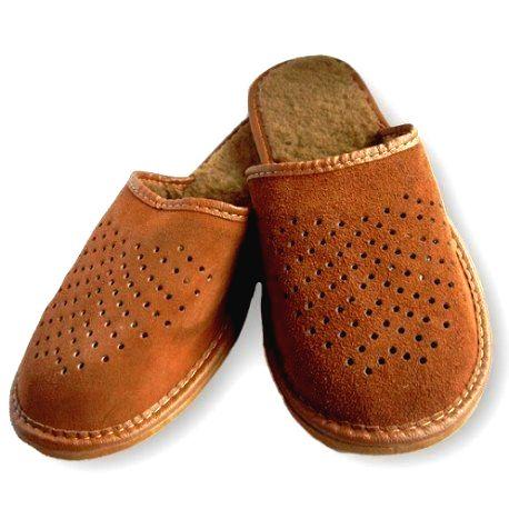 630 Pánske kožené papuče - hnedá 46