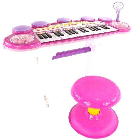 DR Klavír pre deti s mikrofónom a taburetkou