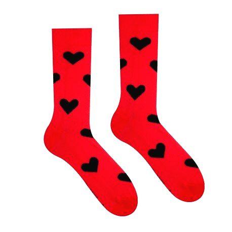 HESTY Veselé ponožky HESTY - Srdiečko červené 43-46
