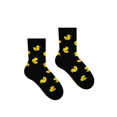 HESTY Veselé ponožky Hesty - Kačička čierna - Detské 30-34